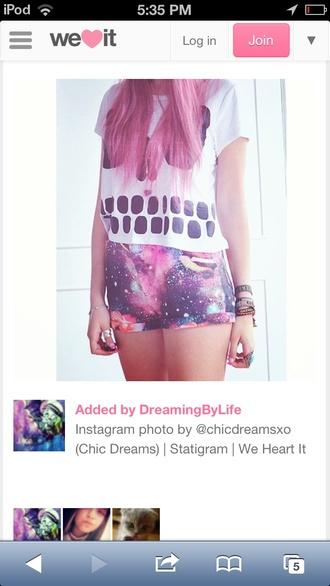 clothes t-shirt shorts galaxy print galaxy shorts skull skull t-shirt high waisted shorts