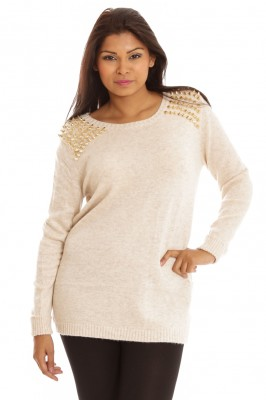 Comfy Gold Colour Spikes Jumper Stone