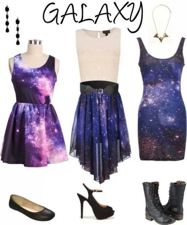 dress galaxy print girly skirt