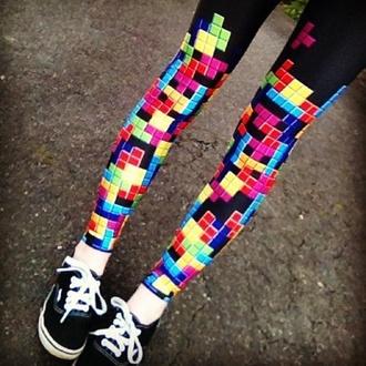 jeans leggings cute tetris game nerd pants