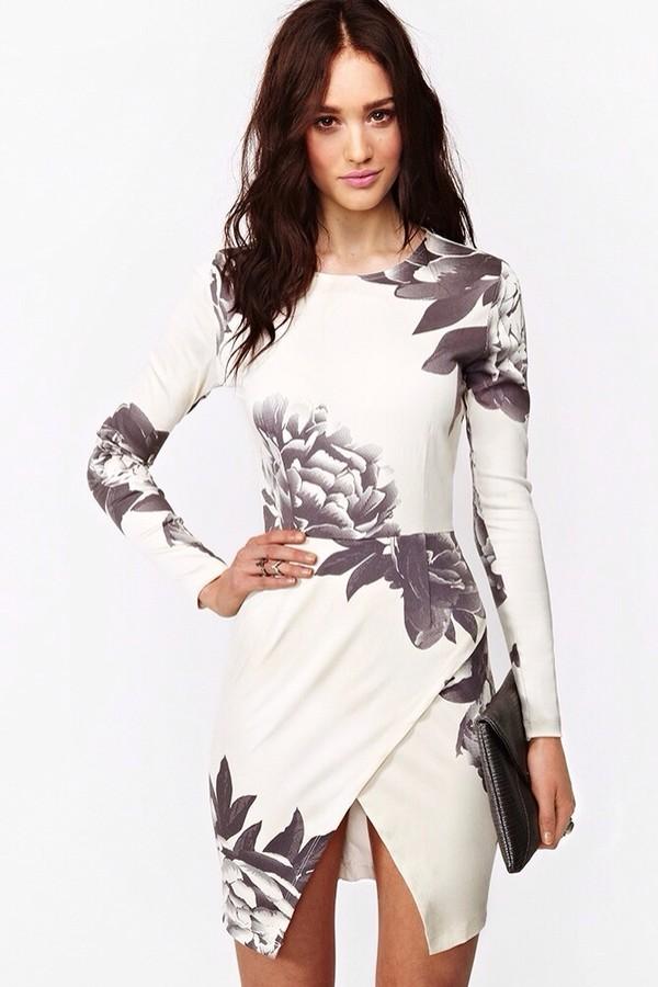 dress white dress floral floral dress long sleeve dress grey