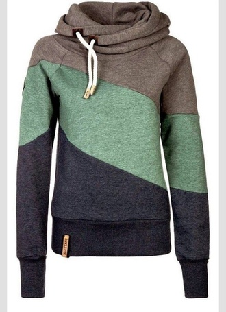 jacket naketano sweater jumper blue grey black hoodie clothes hoodie tri-color sweatshirt pullover colorblock brown green blue tri colored naketano sweatshirt naketona green stripes cowl neck fleece style fashion brown black hoodie coat mint navy fall outfits sporty turtleneck long sleeves cool casual warm cozy winter outfits sportswear multicolor
