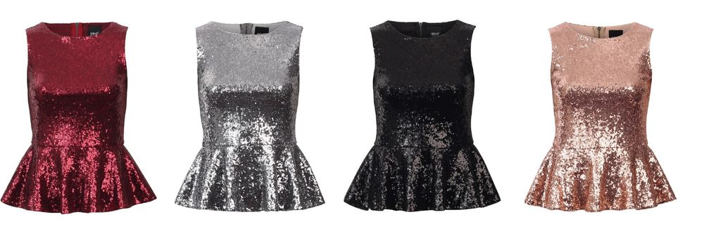 New Womens Christmas Sexy Party Club Sequin Embellished Fitted Peplum Top 544 | eBay