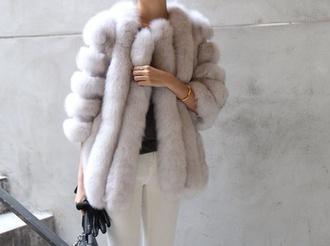 coat fur grey cozy beautiful faux hot style warm