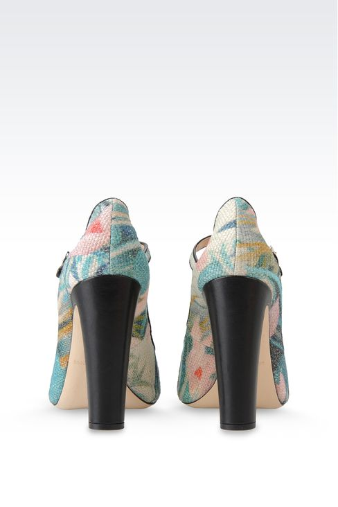 Emporio Armani Women Closed Toe Slip Ons - OPEN TOE SANDAL IN WATER LILY PRINT JUTE Emporio Armani Official Online Store