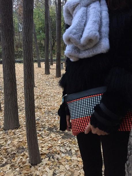 bag weaving clutch mint neonorange leather handmade tessle
