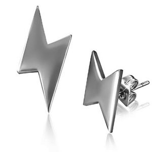 Stainless Steel CTU Out Lightning Bolt Flash Thunder Ear Stud Earrings Z14 | eBay