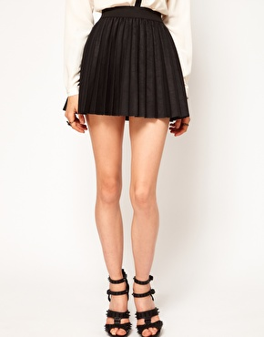 ASOS | ASOS Pleated Skirt in Leather Look at ASOS