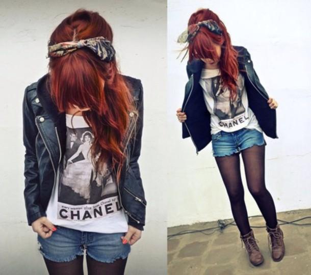 jacket top shirt shorts hair accessory