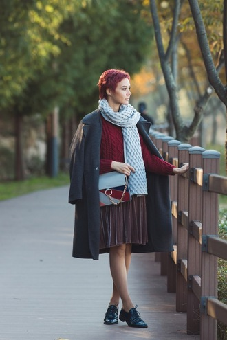 gvozdishe blogger coat dress sweater bag shoes scarf fall outfits grey coat oxfords red sweater red cable knit sweater knitted sweater black coat midi skirt velvet velvet skirt black shoes chunky knit
