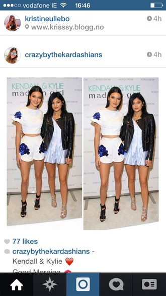 kylie jenner blue baby blue romper jumpsuit dungaree thecarriediaries carrie pleated skater skirt