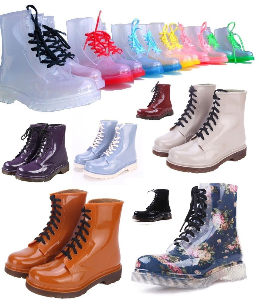 Clear Rain Boots Color Soles or Solid Jelly Shoes Lace Up Waterproof Transparent | eBay