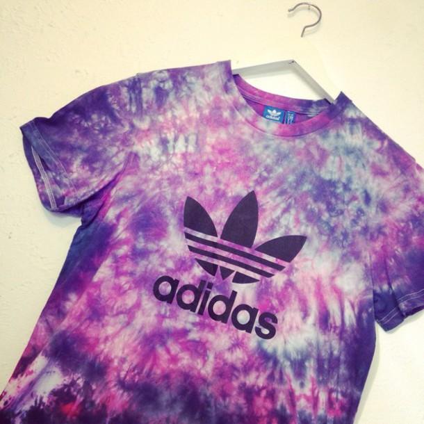 shirt tie dye adidas originals adi trefoil berry crush scrunch dyed t-shirt t-shirt