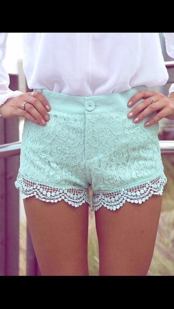 shorts light blue lace lace shorts high waisted blue shorts