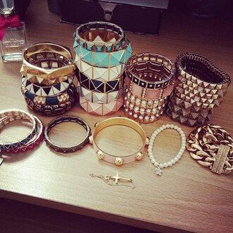jewels blue white fancy cool jewelry frantic jewelry bracelets set bracelets gold studs studded bracelet