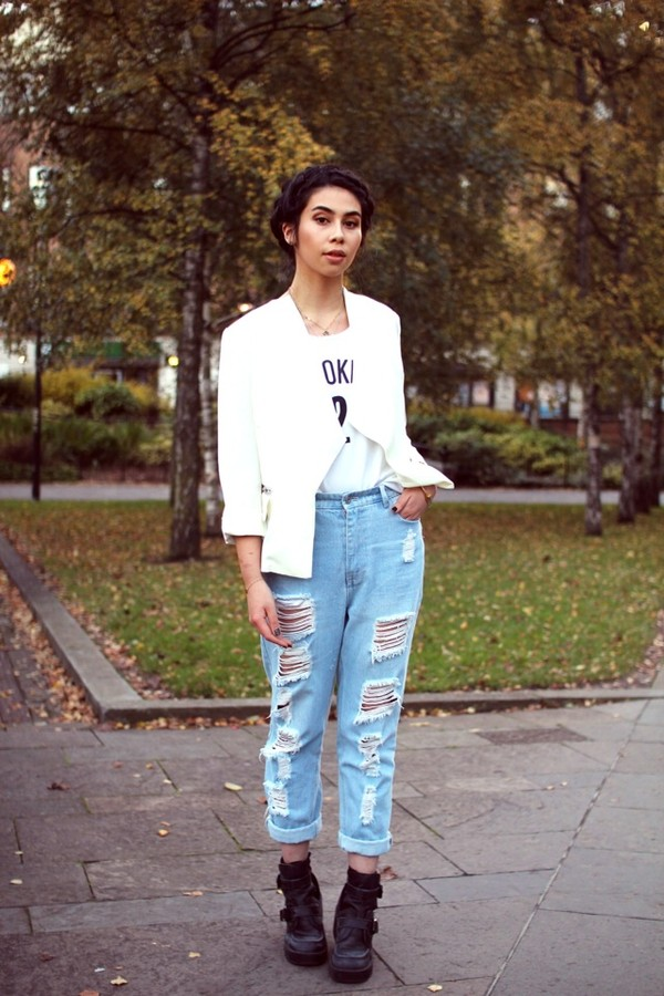 jeans boyfriend jeans ripped light jeans ripped high waisted fashion blogger tar mar