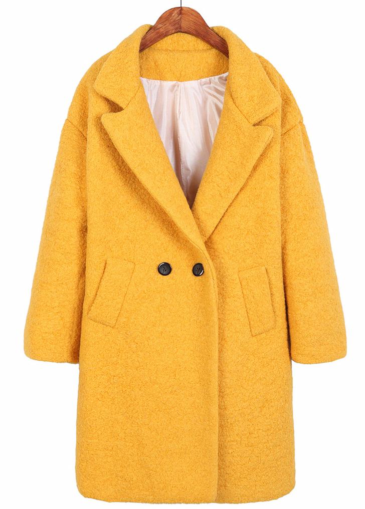 Yellow Lapel Long Sleeve Slim Woolen Coat - Sheinside.com