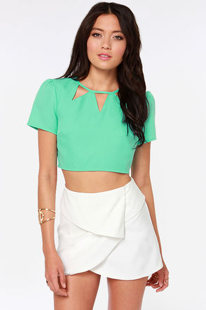Cute Mint Top - Crop Top - Mint Green Top - Cutout Top - $44.00