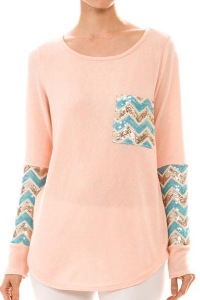shirt aztec peach sequins sequin shirt