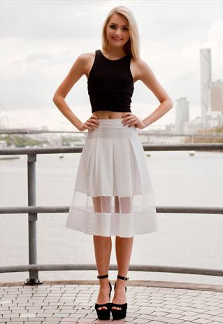 Cream Pleated Skirt with Sheer Panel   Shop Fashion Avenue   ASOS Marketplace