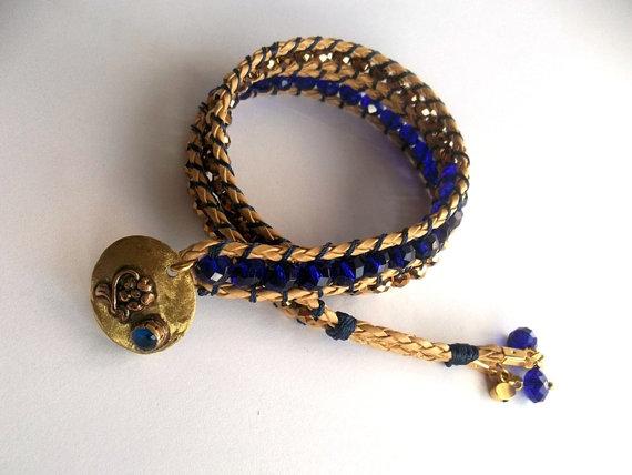 Jewelry Bracelet Spring Brass Metal Button Boho Wrap by GULDENTAKI