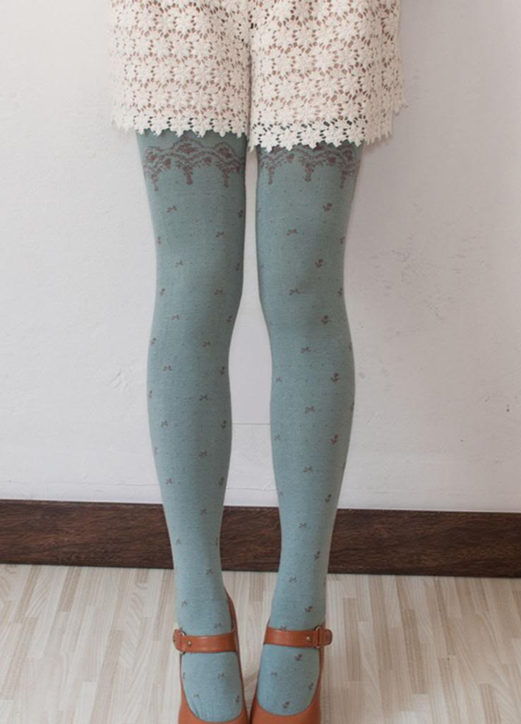 Sweet Lace Polka Dots Flowers Good Quality Cotton Thick Winter Leggings Tights | eBay