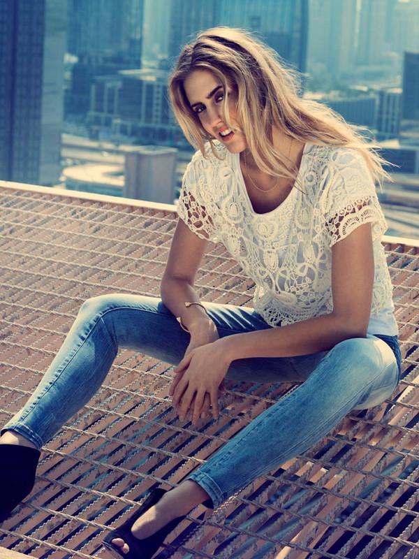 blouse crochet short sleeved blouse jeans OLGA ANTIFIT ANTI-FIT JEANS