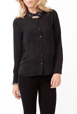 Multi-Studded Collar Shirt | FOREVER21 - 2030187756