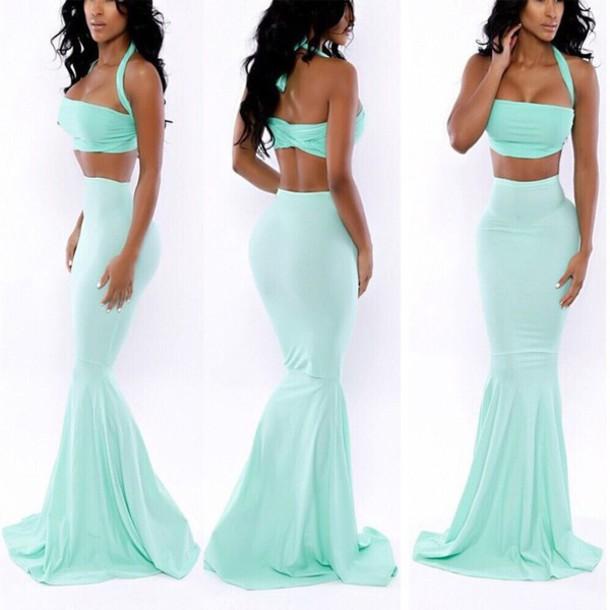 dress blue dress fishtail skirt bodycon skirt blue skirt crop tops long dress