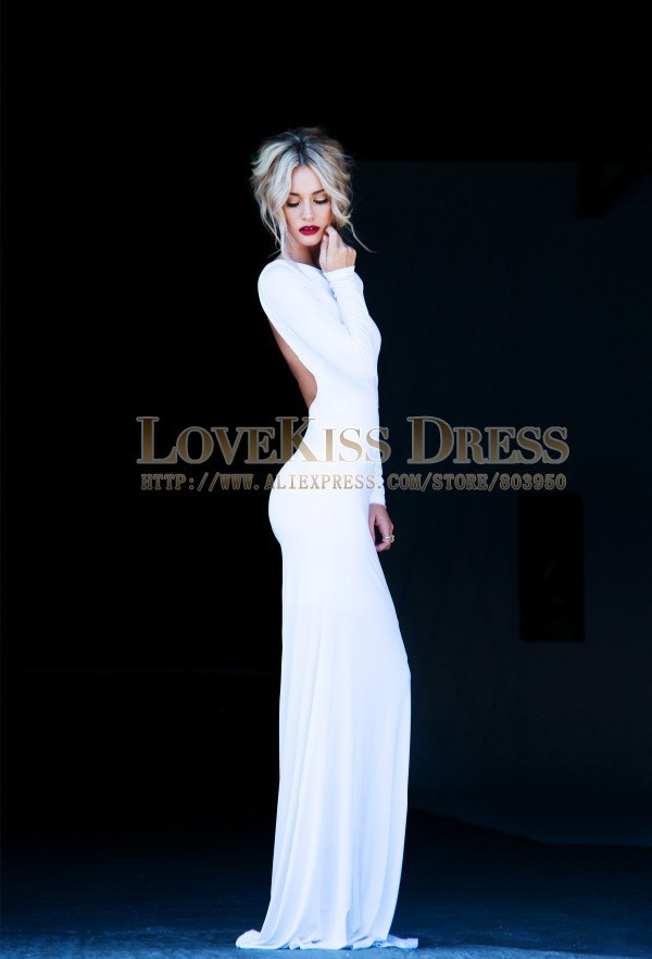 Sexy Vestidos De Fiesta Scoop Neck Open Back With Long Sleeve Elegant White Prom Dress DYQ907-in Prom Dresses from Apparel & Accessories on Aliexpress.com