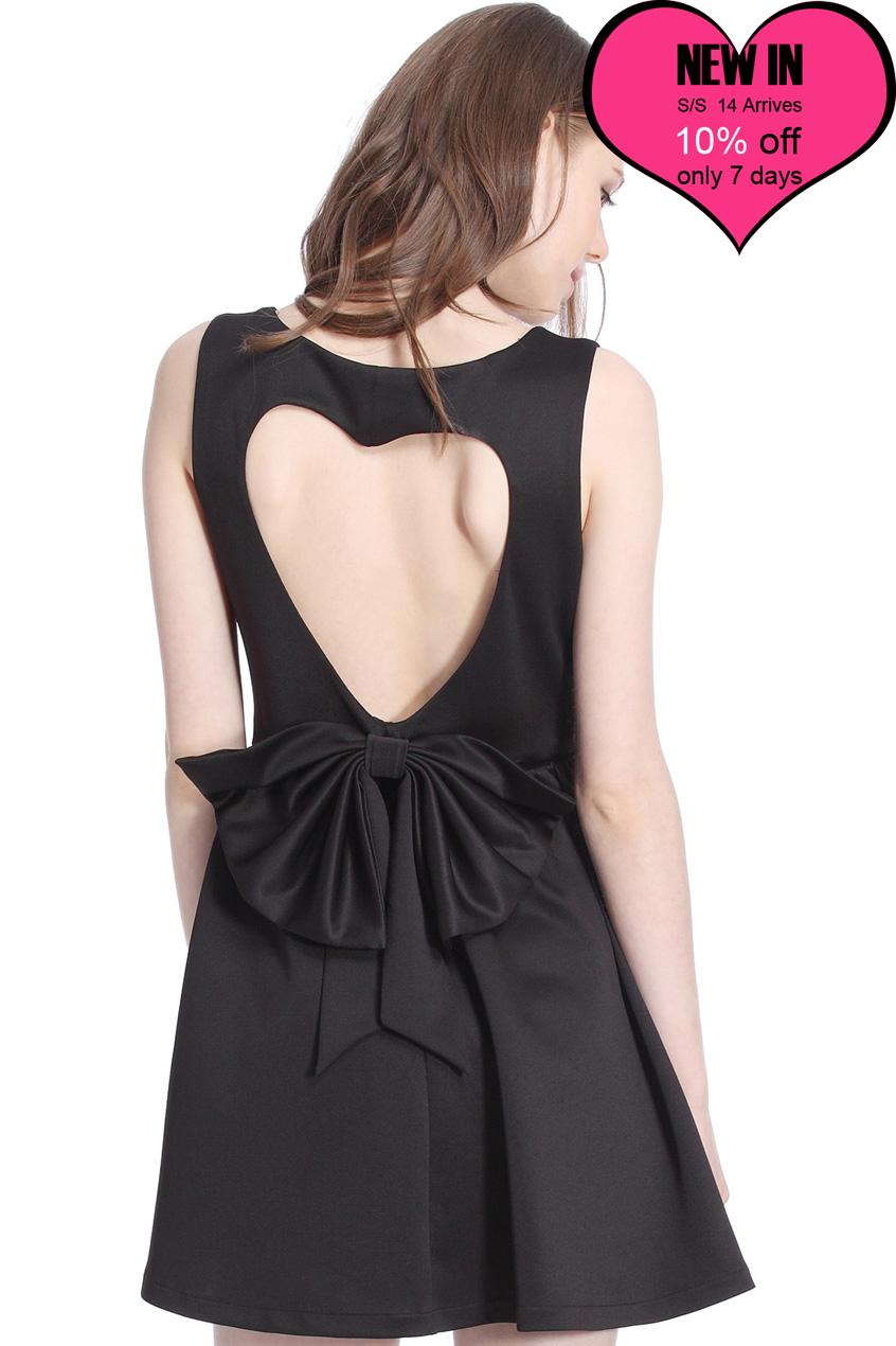 ROMWE   ROMWE Heart-shaped Cutout Sleeveless Black Dress, The Latest Street Fashion