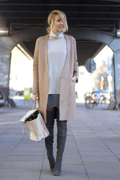 ohh couture blogger winter outfits camel coat grey skirt backpack thigh high boots suede boots shoes skirt bag sunglasses