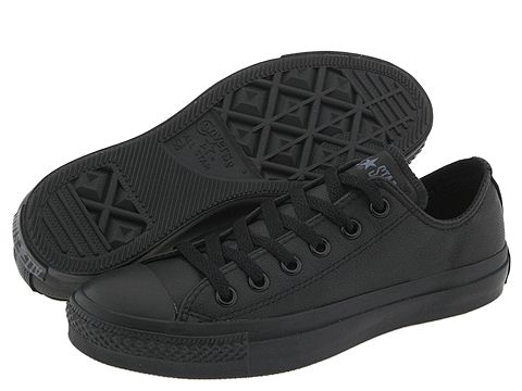 Converse Chuck Taylor® All Star® Leather Ox Black Monochrome - Zappos.com Free Shipping BOTH Ways