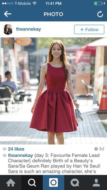 dress burgundy dress korean fashion korean drama korean style