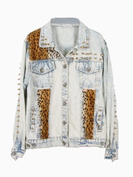 Denim Leopard Jacket In Acid Wash With Stud | Choies