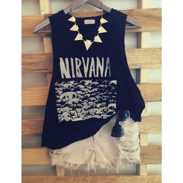 t-shirt nirvana nirvana t-shirt hipster band t-shirt jewels bag