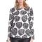 Romwe | romwe leaves print asymmetric black long sleeves blouse, the latest street fashion