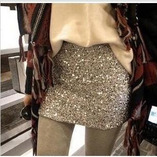 2013 summer women's gold wave silver paillette solid color step slim skirt hip short skirt bust skirt-inSkirts from Apparel & Accessories on Aliexpress.com