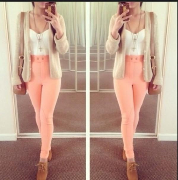 pink pants high waisted pants