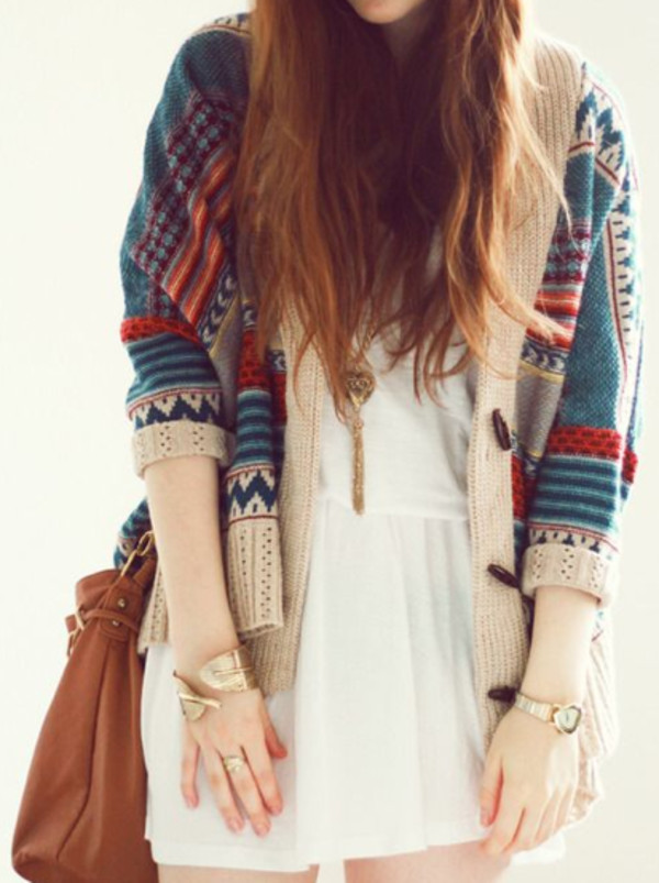 dress sweater blue red cardigan fall outfits winter outfits cozy print oversized sweater oversized cardigan bag