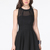 Black Contrast Mesh Yoke Backless Pleated Dress - Sheinside.com