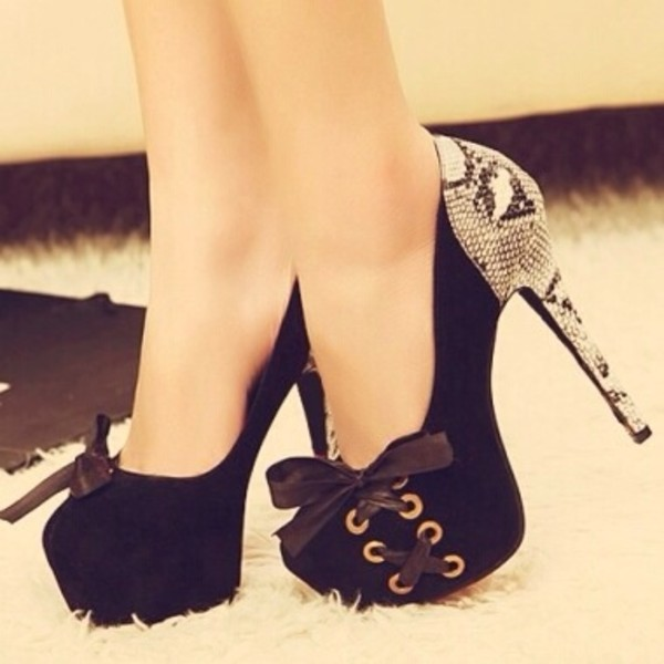 shoes black bow crocodile high heels black high heels cute platform shoes sexy design ribbon
