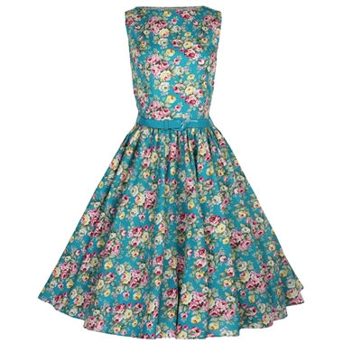 Lindy Bop 50's Audrey Floral Dress In Turquoise | Tiger Milly