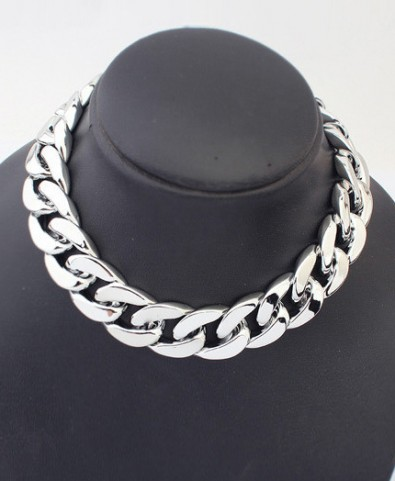 Thick Chain Plated Short Necklace - Jewellery - Accessories