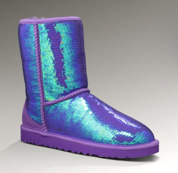 shoes ugg boots purple sequins