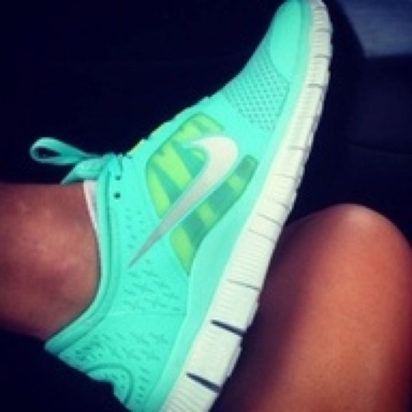shoes nike free run green flashy shoes