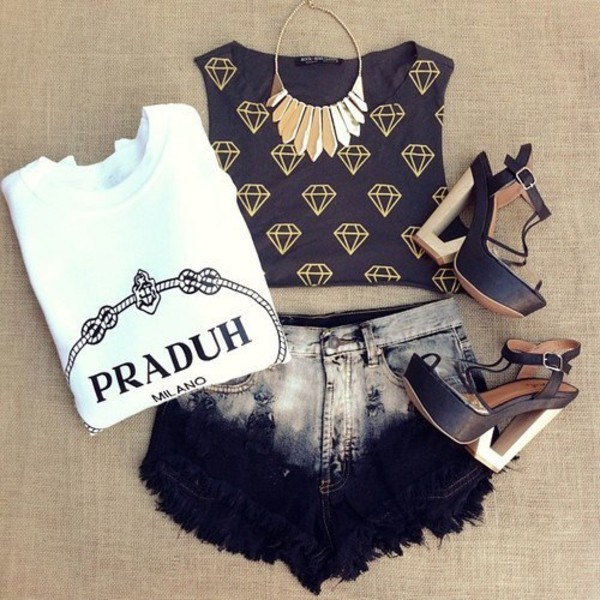 t-shirt praduh prada top white black milano t-shirt shirt shoes shorts jewels blouse High waisted shorts ripped shorts ripped shorts jacket black and white cute outfits tie dye diamond supply co. high rise shorts dip dye shorts jewlery shirt shorts diamonds tie dye tank top denim
