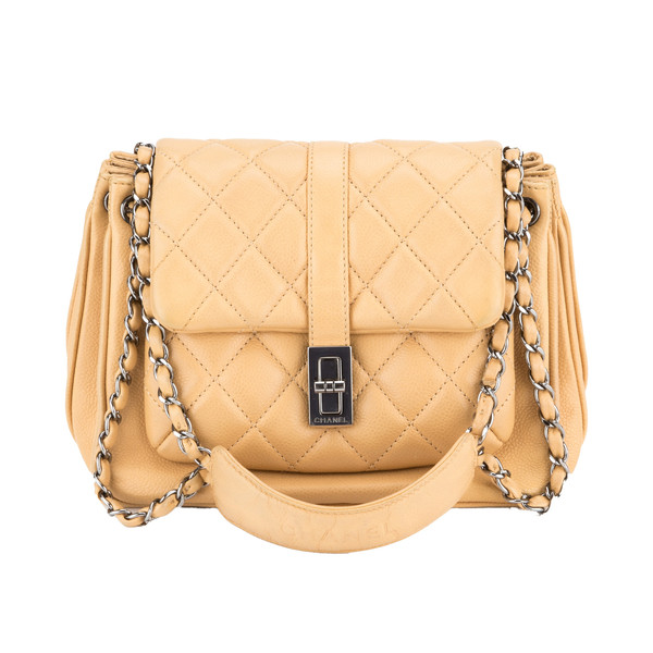 Chanel Beige Accordion Bag (Authentic Pre Owned) - 1820012