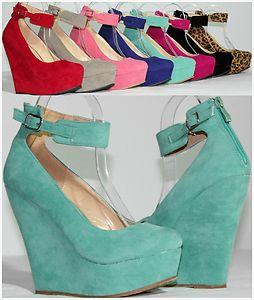 New Women's Round Toe Fashion High Heel Platform Ankle Strap Zipper Wedge Pumps   eBay