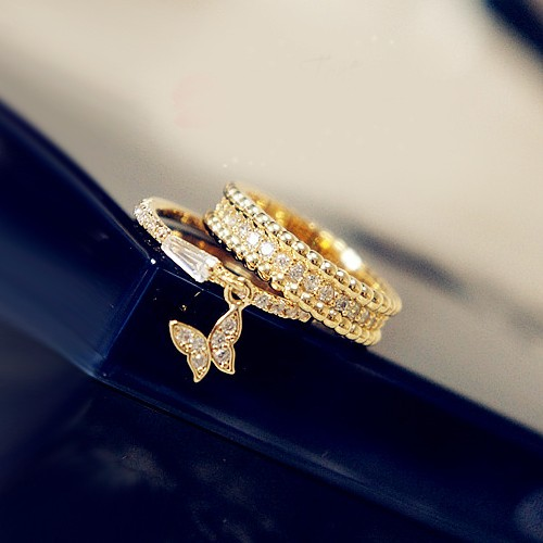 New Sterling Silver Gold Plated Rhinestone Butterfly Charm Stack Ring